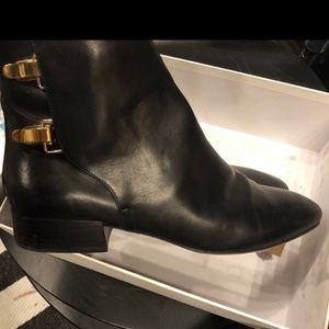 Chloé black leather ankle booties w/ gold buckles